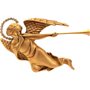 MMA Trumpeting Angel with Rhinestone Halo Pin, Necklace Pendant Metropolitan Museum of Art