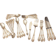 Reed & Barton Tiger Lily Silverplate Flatware, Festivity Silver Plate Silverware Set 31 Pieces, No Monograms