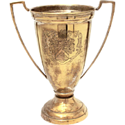 "Silverplated Brass Loving Cup Trophy with Engraved Coat of Arms Armorial Crest, 9.5"" tall"