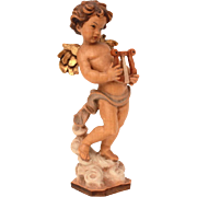 Carved Wood Cherub Musician Figurine, Golden Winged Angel with Harp, Lyre Playing Putti Carving
