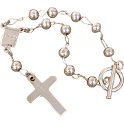 Mexican Sterling Rosary Style bead & Cross Charm Bracelet, Mexico Silver