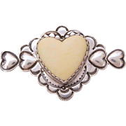 Southwest Sterling Heart Pin Signed GWS, Silver Stamped Hearts Brooch