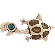 Taxco Mexico Rafael Dominguez Sterling Enamel Turtle Pin, Whimsical Tortoise