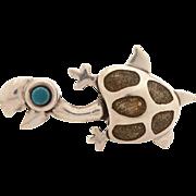 Taxco Mexico Rafael Dominguez Sterling Enamel Turtle Pin, Whimsical Tortoise