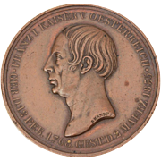 1835 Bronze Mourning Medal By Henri Brandt, Death of Franz I Emperor Austria, Holy Roman Empire