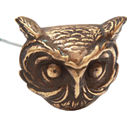 "Antique Horned Owl Hatpin, Victorian Pressed Brass Hat Pin 9"" Long"