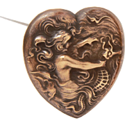 "Antique Hatpin Heart with Mermaid & Seahorse, Pressed Brass Victorian Hat Pin 8 3/4"" Long"