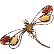 Dragonfly Pin Sterling with Baltic & Egg Yolk Amber Cabochon Gems, Insect Bug Brooch