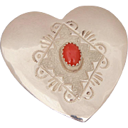 Dave Pino Sterling Coral Heart Pin Pendant, Signed Native American Indian Jewelry