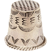 Navajo Sterling Thimble, Native American Indian Sewing Tool with Southwest Stampings