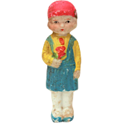 1930s Bisque Doll in Pink Cloche Hat & Blue Pinafore, Frozen Charlotte Style, Made in Japan Penny Doll