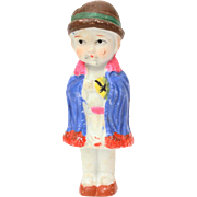 1930s Bisque Penny Doll in Blue Cape & Cloche Hat, Frozen Charlotte Style, Made in Japan