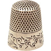 Antique Sterling Ketcham and McDougall Thimble with Engraved Design, Size 8
