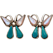 Native American Butterfly Stud Earrings, Pierced Sterling Turquoise & Mother of Pearl