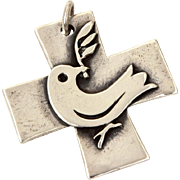 James Avery Sterling Cross Pendant Peace Dove with Olive Branch