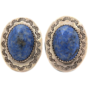 Clarence Chama Sterling Denim Lapis Pierced Earrings Santo Domingo Pueblo Native American Indian Jewelry