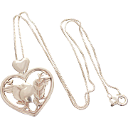Sterling Heart & Bird Necklace, Designer Signed Dakota West