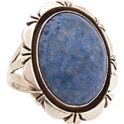 Eugene Belone Navajo Ring, Sterling Denim Lapis, Native American Indian Jewelry