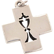 James Avery Sterling Cross Pendant with Communion Chalice