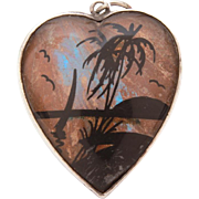 Sterling Butterfly Wing Heart Pendant, Beach Scene Silhouette, Travel Souvenir, Morpho Butterfly