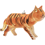 Italian Blown Glass Christmas Ornament, Tiger or Striped Orange Cat, Italy Xmas Decoration