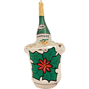 Champagne Bottle in Bucket Italy Blown Glass Christmas Ornament, Italian Xmas Decoration, 1981 Anniversary
