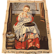 Completed Needlepoint Old Dutch Master Painting Girl Sewing Nicolaes Maes Jonge Handwerkster 551997, Unframed Needle Work