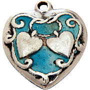Walter Lampl Sterling Enamel Puffy Heart Charm with Double Hearts & Love Knot, Robins Egg Blue, Engraved Desdemona