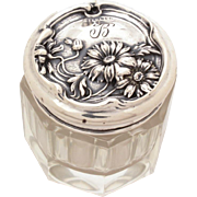 Antique Sterling Dresser Jar with Repousse Daisy Flowers & Buds, Vanity Jar, Rouge Pot, Edwardian Cosmetic Bottle