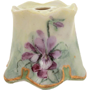 Antique Stickpin Holder Hand Painted Violet Flowers on Porcelain with gold trim & Ruffled Edges, 1 5/8""
