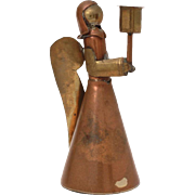 "Peggy Page Mexico Mixed Metals Angel Candlestick Holder, 3"" Brass & Copper Mid Century Candle Holder"