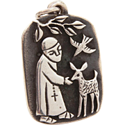 James Avery Sterling St. Francis Necklace Pendant, Catholic Saint Francis Medal