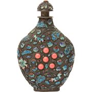 Antique Chinese Snuff Bottle with Enamel & Coral