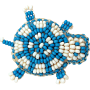 Native American Beaded Turtle Pin, Leather White & Blue Seed Beads, Indian Bead Spirit Animal