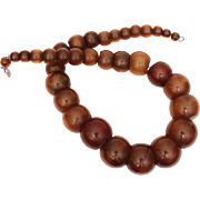 Tested Bakelite Bead Necklace, Chunky Ethnic Style, Faux Tortoise Shell or Brown Horn
