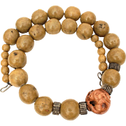 Ethnic Copal Bead Necklace with Japanese Carved Wood Rabbit Ojime Bead, Ethnic Jewelry
