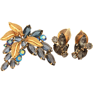 Blue & Gray Open Back, Prong Set Glass Rhinestones with Gold Tone Leaf Details Pin & Weiss Earrings, Aurora Borealis Chatons