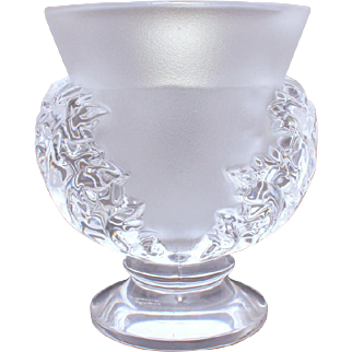 Signed Lalique St Cloud Flower Vase, Saint Cloud Art Glass Acanthus Leaf Design, Hand Signed with Original Sticker