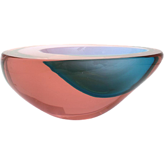 Murano Glass Bowl, Sommerso Teardrop Dish in Red & Blue, Attributed to Flavio Poli for Seguso, Mid Century Italian Glass