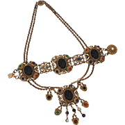 Baroque Style Costume Festoon Necklace & Bracelet, Black Glass Cameo & Art Glass Semi Precious Stones, Cold Painted Enamel