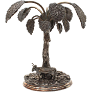 Antique Victorian Silverplate Centerpiece Palm Tree & Cow