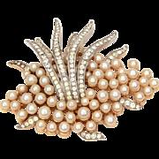 Trifari Faux Pearl Cluster & Rhinestone Plume Pin