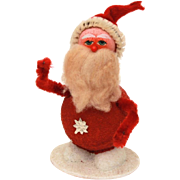 Santa Claus Nodder Christmas Decoration - Paper Mache, Spun Cotton, Pipe Cleaners, Felt - Japan Xmas