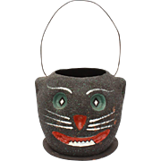 Vintage Halloween Black Cat Trick or Treat Bucket Decoration, Paper Mache Glitter Jackolantern