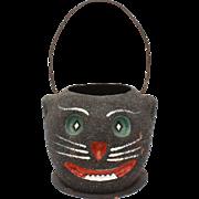 Vintage Halloween Black Cat Trick or Treat Bucket Decoration, Paper Mache Glitter Jackolantern