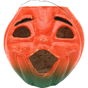 "1940s Halloween Jackolantern Large 7.5"" Paper Pulp Pumpkin Orange & Green Jack-O-Lantern"