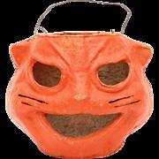 1940s Halloween Cat Face Jackolantern, Paper Pulp, Paper Mache Jack-O-Lantern