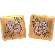 Edwardian Cufflinks Enamel Forget Me Not Flowers Gold Filled Cuff Links, Enamel Floral Cuff Studs