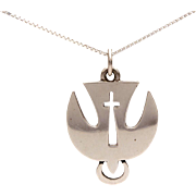 Sterling Holy Spirit Descending Dove & Cross Necklace Pendant
