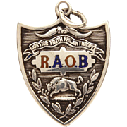 1912 Antique Sterling Enamel Fraternal Pocket Watch Fob, RAOB Royal Order Buffalo Crest, Royal Antediluvian Order of Buffaloes